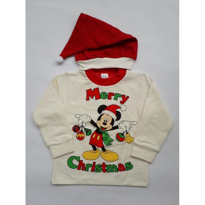Коледен комплект блуза и шапка за момиче