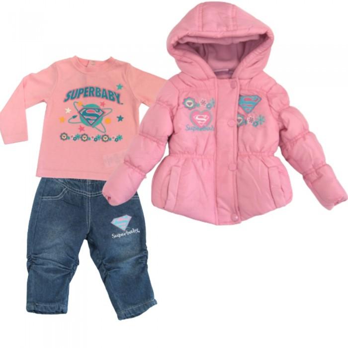 Зимен комплект от 3 части за бебе момиче Super Baby