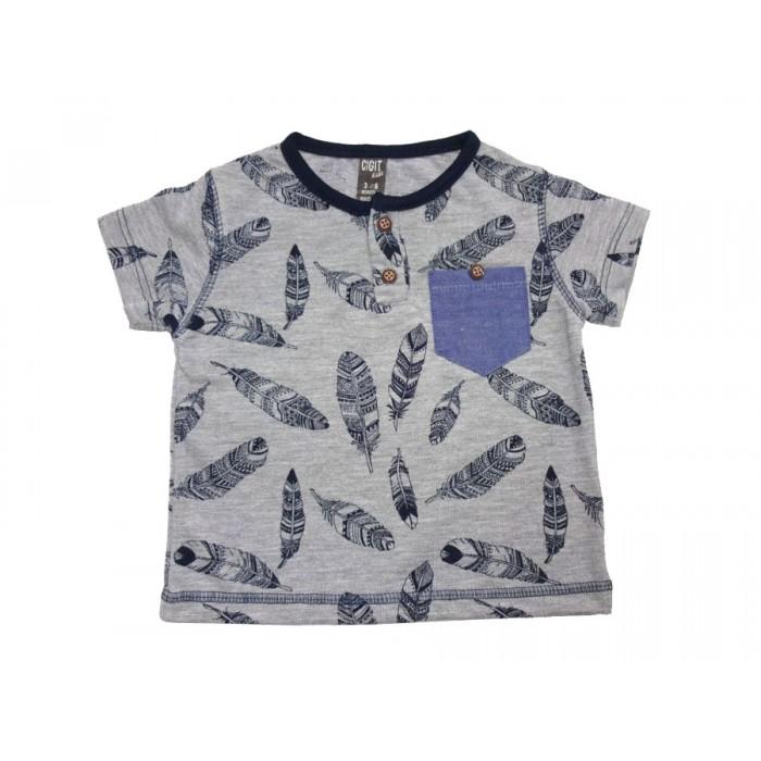 Сива тениска със синьо джобче Палмови листа