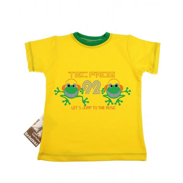 Жълта памучна тениска с жабки