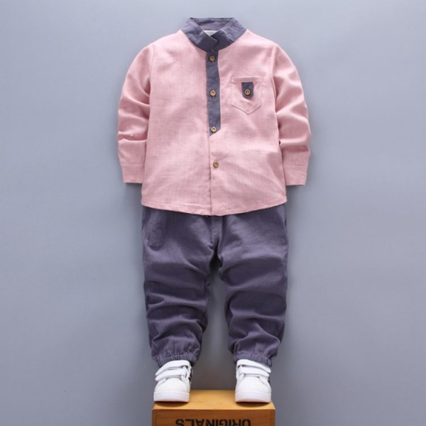 Комплект за момче с офицерска яка в розово и сиво