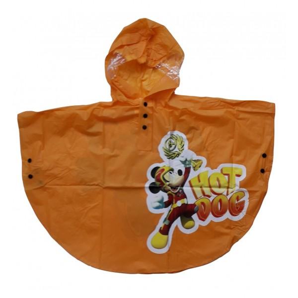 Детско пончо за дъжд с Мики в оранжево