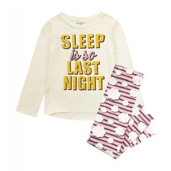 Пижама за момиче Sleep Is So Last Night бяла Delia's Girl