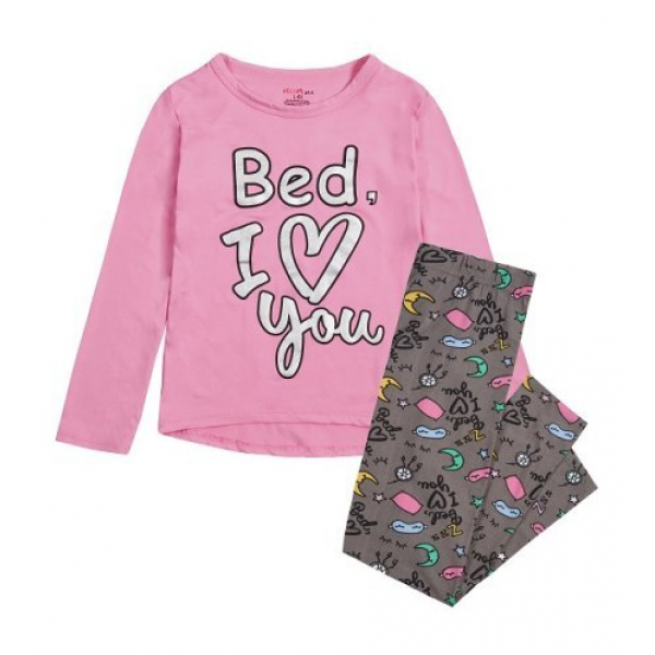 Пижама за момиче Bed I Love You розова Delia's Girl