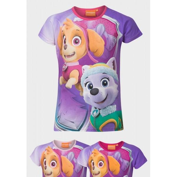 Блуза с къс ръкав за момиче със Скай и Еверест от Пес Патрул Nickelodeon