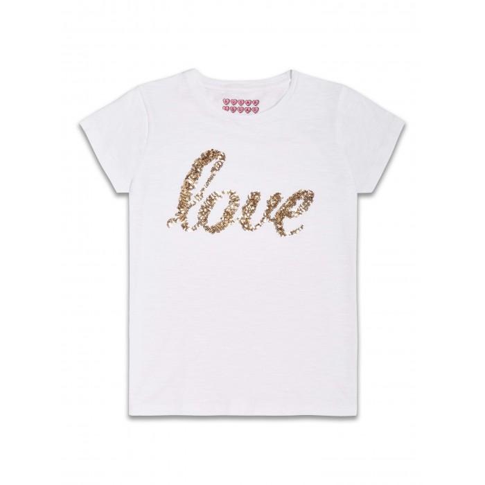Бяла блузка с пайети Love