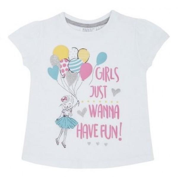 Блуза с къс ръкав за момиче с балони Minikidz