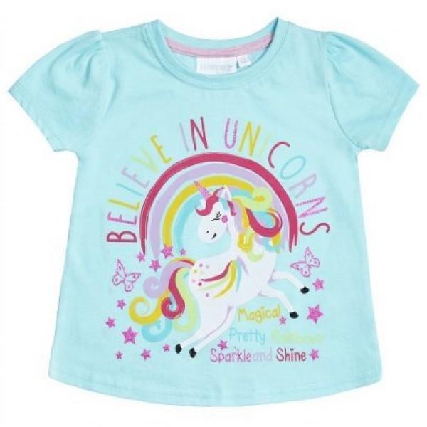 Блуза с къс ръкав за момиче Believe In Unicorns Minikidz