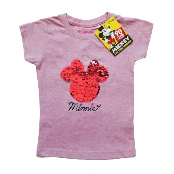 Блуза с къс ръкав с двулицеви пайети за момиче Minnie