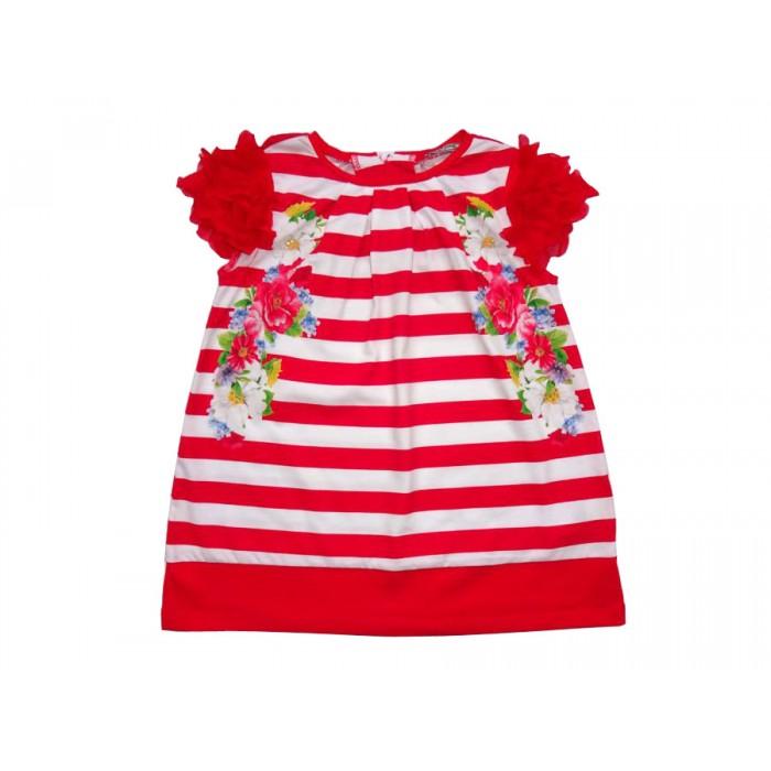 Нежна червено-бяла рокля с цветя